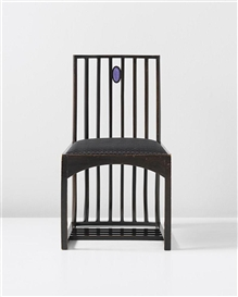 Artwork by Charles Rennie Mackintosh, Side chair, designed for the drawing room, Hous'Hill, Catherine Cranston's residence, Nitshill, Glasgow, Made of Stained sycamore, lavender glass medallion, fabric