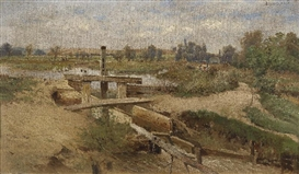 Artwork by Theodor von Hörmann, Hungarian Landscape, Made of Oil on canvas