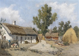 Artwork by Theodor von Hörmann, A Farmhouse, Made of Oil on canvas