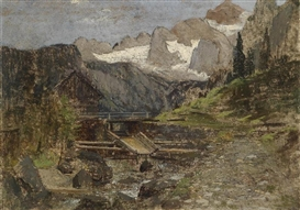 Artwork by Theodor von Hörmann, Gosaumühle with the Dachstein, Made of Oil on canvas