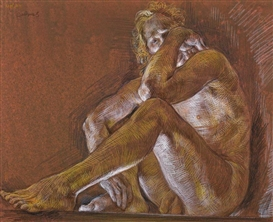 Artwork by Paul Cadmus, Male nude, Made of crayon on paper