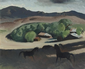 Artwork by Millard Sheets, Pomona ranch horses, Made of oil on canvas