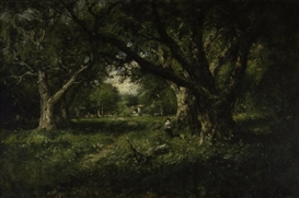 Artwork by William Keith, A clearing among the oaks, Alameda, Made of oil on canvas