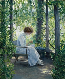 Artwork by Guy Rose, Woman sewing, Made of oil on canvas
