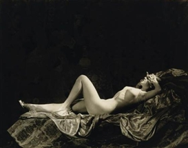 Artwork by Alfred Cheney Johnston, Lounging nude, Made of Silver print
