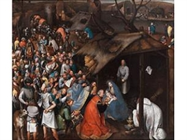 Artwork by Pieter Brueghel the Younger, ANBETUNG DES KINDES IN BETLEHEM, Made of oil on canvas
