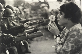 Artwork by Marc Riboud, JAN ROSE KASMIR AT A DEMONSTRATION AGAINST THE VIETNAM WAR, WASHINGTON, D. C., Made of photograph