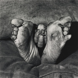 Artwork by Roger Ballen, PUPPY BETWEEN FEET, Made of selenium-toned photograph