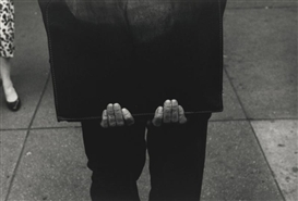 Artwork by Roy DeCarava, MAN WITH PORTFOLIO, Made of photograph