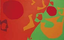 Patrick Heron, Small Diagonal with Scarlet, Emerald and Orange Fragments