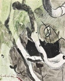 Artwork by Graham Sutherland, Study for trees by the side of a lane, Made of pencil, watercolour and ink