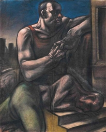 Artwork by Peter Howson, Sleeping Warrior, Made of pastel