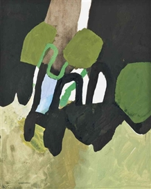 Artwork by Keith Vaughan, Green, Black and Blue, Made of gouache