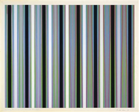 Bridget Riley, Red Crossing Blue and Green, with Blacks and dark Greys