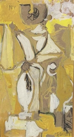 Artwork by Graham Sutherland, Yellow composition, Made of pencil chalk and gouache on buff paper