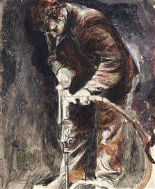 Artwork by Graham Sutherland, Tin mine: Miner drilling, Made of pencil, chalk and gouache on paper laid on canvas