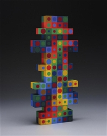 Artwork by Victor Vasarely, Eksin, Made of acrylic on wood, hand-painted