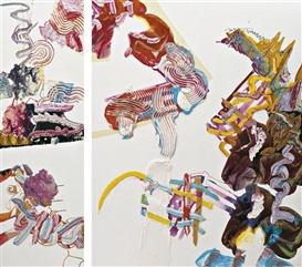 Artwork by Pia Fries, Diptych: Oxana, Made of oil and screenprint on board