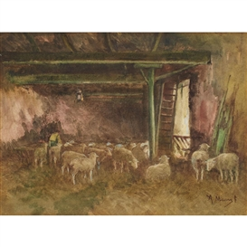 Artwork by Anton Mauve, IN THE SHEEP BARN, Made of Watercolour, ink and gouache