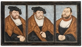 Artwork by Lucas Cranach the Elder, Frederick the Wise, John the Constant and John Frederick the Generous, the electoral coat of arms on the reverse, Made of oil on panel