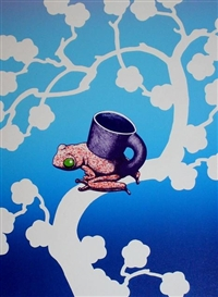 Artwork by Ken Price, 2 Works: Japanese Tea Frog Cup & Cup Gets the Worm, Made of lithograph