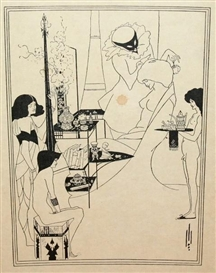 Aubrey Beardsley, 4 Works: The Toilette of Salome from Salome, a Tragedy in One Act (Oscar Wilde) & 3 illustrations for Drawings for the Sixth Satire of Juvenal