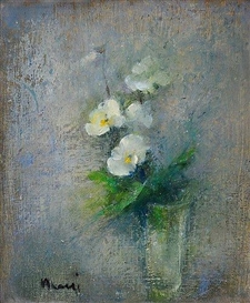 Artwork by Elvi Maarni, WHITE FLOWERS, Made of Oil on canvas