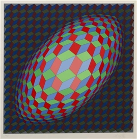 Artwork by Victor Vasarely, Ovoid Cube Form, Made of silkscreen