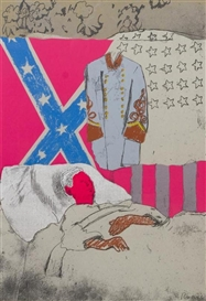 Artwork by Larry Rivers, Confederate Soldier, Made of color silkscreen with collage