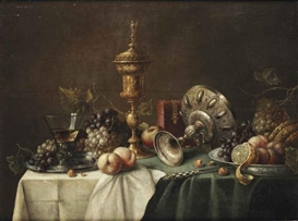 Pieter Claesz, A roemer and red and white grapes on a pewter plate, a golden goblet, a silver tazza and a red casket, a lemon, peaches, grapes and a melon on a porcelain plate, peaches, hazelnuts and a knife, all on a draped table