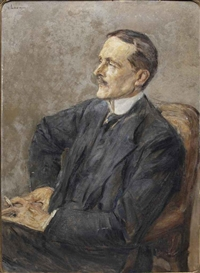 Artwork by Max Liebermann, Bildnis Reichsminister des Auswärtigen Amts Ulrich Graf Brockdorff-Rantzau (1869-1928), Made of oil on paintersboard
