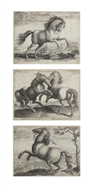 Hendrick Goltzius, Jan van der Straet, Two engravings of horses
