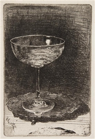 Artwork by James McNeill Whistler, The Wine Glass, Made of etching
