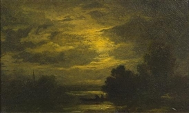 Artwork by Albert Pinkham Ryder, Fisherman at Dusk, Made of oil on board