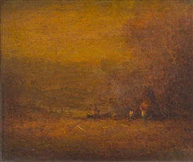 Artwork by Albert Pinkham Ryder, Autumn Gold, Made of oil on canvas