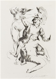 Artwork by Lovis Corinth, Theseus and Ariadne I, Made of etching