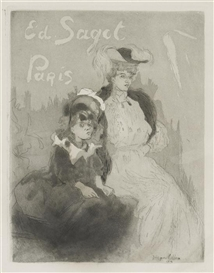 Artwork by Jacques Villon, Femme et enfant, Made of drypoint