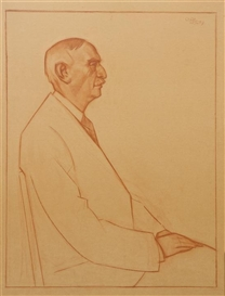 Artwork by Carl Robert Holty, Profile of a Man, Made of red chalk on paper