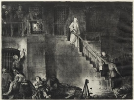 Artwork by George Bellows, The Murder of Edith Cavell, Made of lithograph
