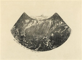 Artwork by Paul Gauguin, Les Drames de la Mer-Une descente dans le maelstrom (M. 3), Made of Zincograph on simili japon paper