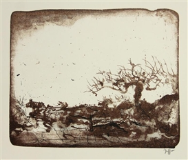Artwork by Horst Janssen, Willow Tree Landscape (Kopfweiden landschaft), Made of Color lithograph on wove paper