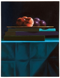 Artwork by Bruce Cohen, Still Life with Fruit and Stack of Books, Made of Oil on canvas