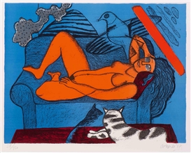 Artwork by Corneille, Femme nue sur canapé, Made of Colour lithograph