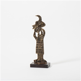 Artwork by Corneille, Femme et oiseau, Made of Bronze on wooden base