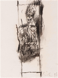 Artwork by Rik van Iersel, 2 works: Untitled, Made of Charcoal on paper
