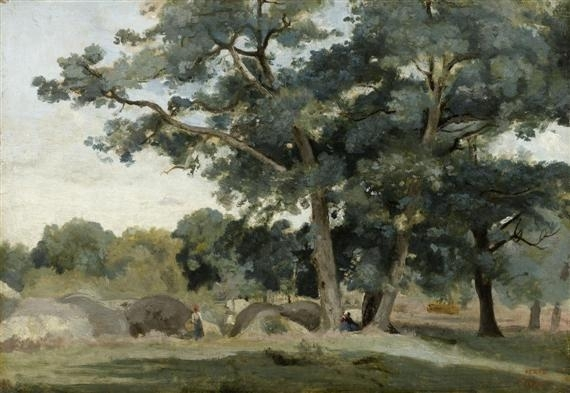Artwork by Jean Baptiste Camille Corot, Fontainbleau - aux Gorges d'Apremont, Made of Oil on paper on panel