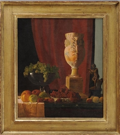 Artwork by John Frederick Peto, STILL LIFE WITH FRUIT, VASE AND STATUE, Made of Oil on canvas