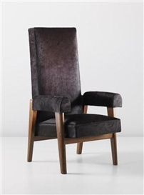 Artwork by Pierre Jeanneret, Le Corbusier, 'Judges' armchair, model no. LC/PJ-SI-43-A, designed for the High Court, Chandigarh, Made of Teak, hide