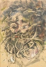 Artwork by Anatoly Zverev, Self Portrait, Made of Oil on paper