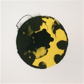 Artwork by Kees de Goede, Yellow black circles, Made of Colour lithograph